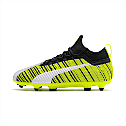PUMA ONE 5.4 Youth Football Boots, White-Black-Yellow Alert, small