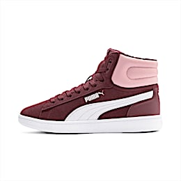Vikky v2 Mid Fur Youth Trainers, Vineyard Wine-B Rose-White, small