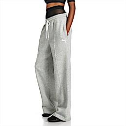 PUMA x SELENA GOMEZ Knitted Women's Sweatpants, Light Gray Heather, small