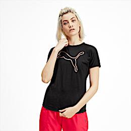 PUMA Cat Damen Training T-Shirt, Puma Black-CAT Q4, small