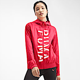 Be Bold Graphic Woven Women's Training Jacket, Pink Alert, small