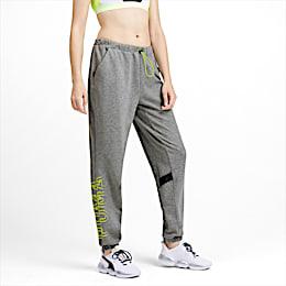HIT Feel It Knitted Women's Training Sweatpants, Medium Gray Heather-Yellow A, small