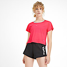 Cropped Short Sleeve Women's Training Tee, Pink Alert, small