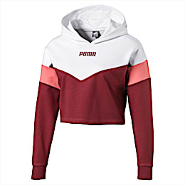 Cropped Colour-Blocked Girls' Hoodie, Burnt Russet-Puma White, small