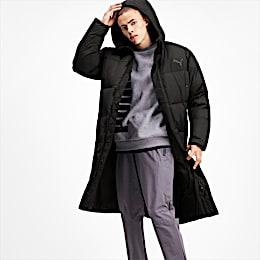 Long Oversized Men's Hooded Coat, Puma Black, small