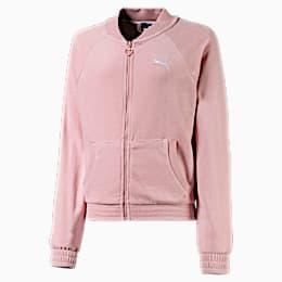 Alpha Velvet Full Zip Girls' Jacket, Bridal Rose, small