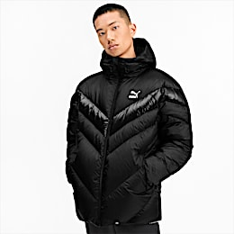 MCS Shiny Hooded Men's Puffer Down Jacket, Puma Black, small
