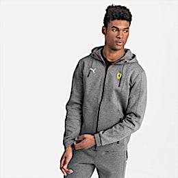 Ferrari Hooded Men's Sweat Jacket, Medium Gray Heather, small