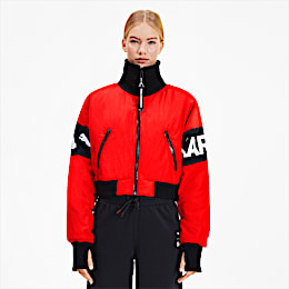 PUMA x KARL LAGERFELD Women's Bomber Jacket, High Risk Red, small