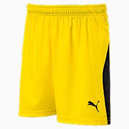 LIGA Kids' Football Shorts, Cyber Yellow-Puma Black, small