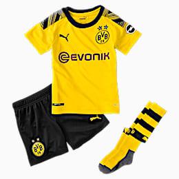 BVB Kids' Home Mini Kit With Socks, Cyber Yellow-Puma Black, small