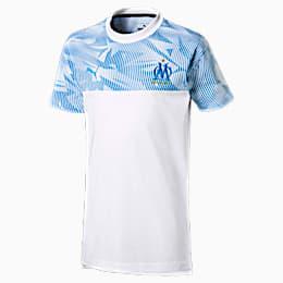 T-Shirt Olympique de Marseille Casuals pour garçon, Puma White-Bleu Azur, small