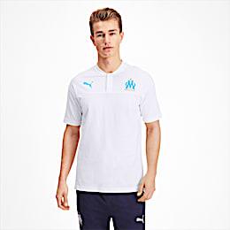 Olympique de Marseille Casuals Men's Polo Shirt, Puma White-Bleu Azur, small