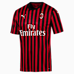 AC Milan Home Authentic Short Sleeve Men's Jersey, Tango Red -Puma Black, small