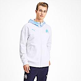 Olympique de Marseille Casuals Herren Kapuzen-Sweatjacke, Puma White-Bleu Azur, small