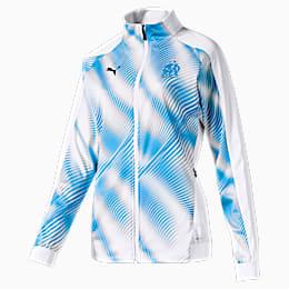 Olympique de Marseille Stadium Women's Replica Jacket, Puma White-Bleu Azur, small