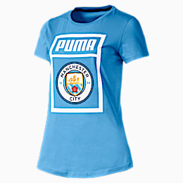 Man City Women's Shoe Tag Tee, Team Light Blue-puma white, small