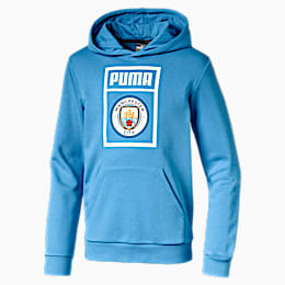 Man City Kids' Shoe Tag Hoodie, Team Light Blue-Puma White, small