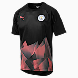 Man City Men's International Stadium Short Sleeve Jersey, Puma Black-Georgia Peach, small