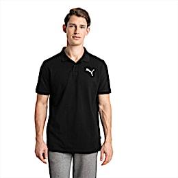 Essential Short Sleeve Men's Polo Shirt, Cotton Black-_Cat, small