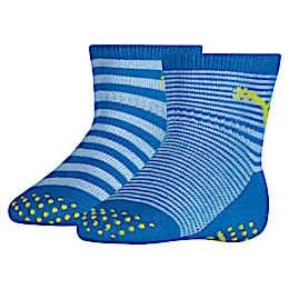 Baby Anti-Slip Socks 2 Pack, blue green combo, small