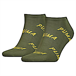 All-Over Logo Men's Trainer Socks 2 Pack, green / yellow, small