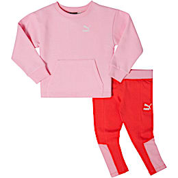 Infant + Toddler Fleece Crew Pullover + Cotton Spandex Leggings Set, PALE PINK, small