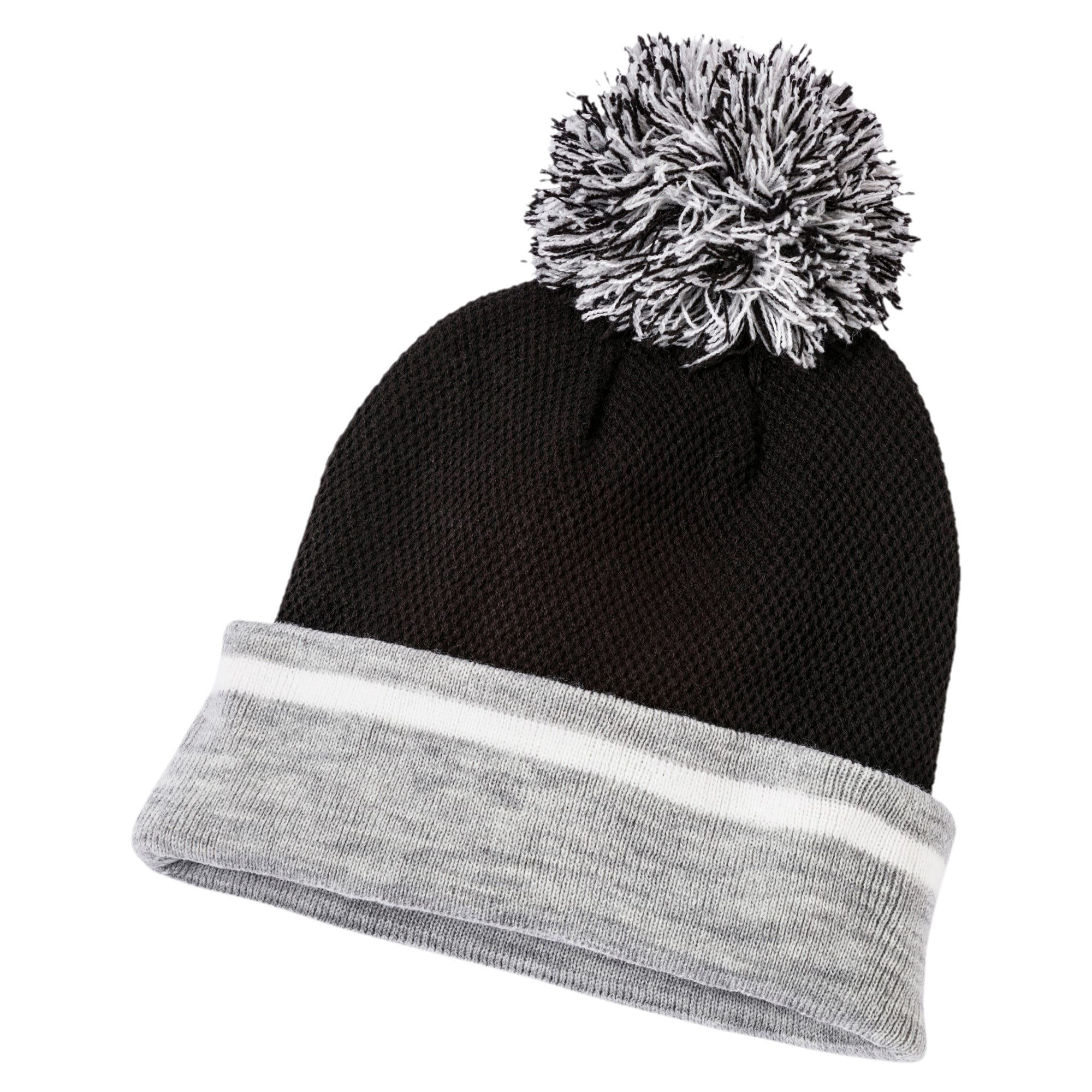 Thumbnail 2 of Women's Pom-Pom Beanie, Puma Black-L.Gray hthr, medium-IND