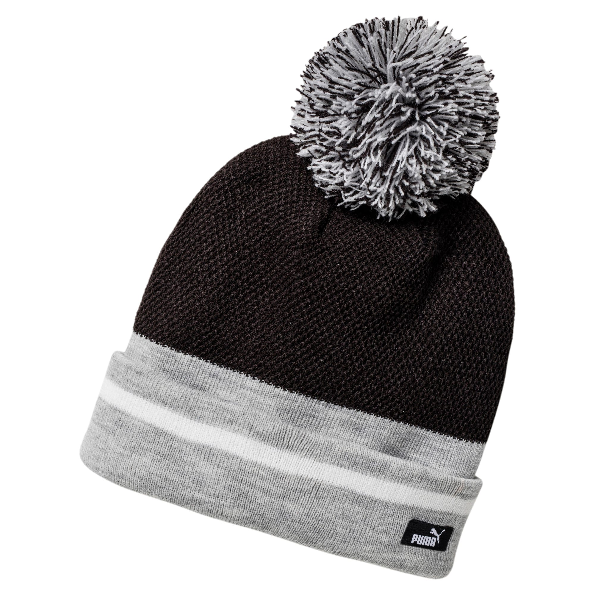 Thumbnail 1 of Women's Pom-Pom Beanie, Puma Black-L.Gray hthr, medium-IND