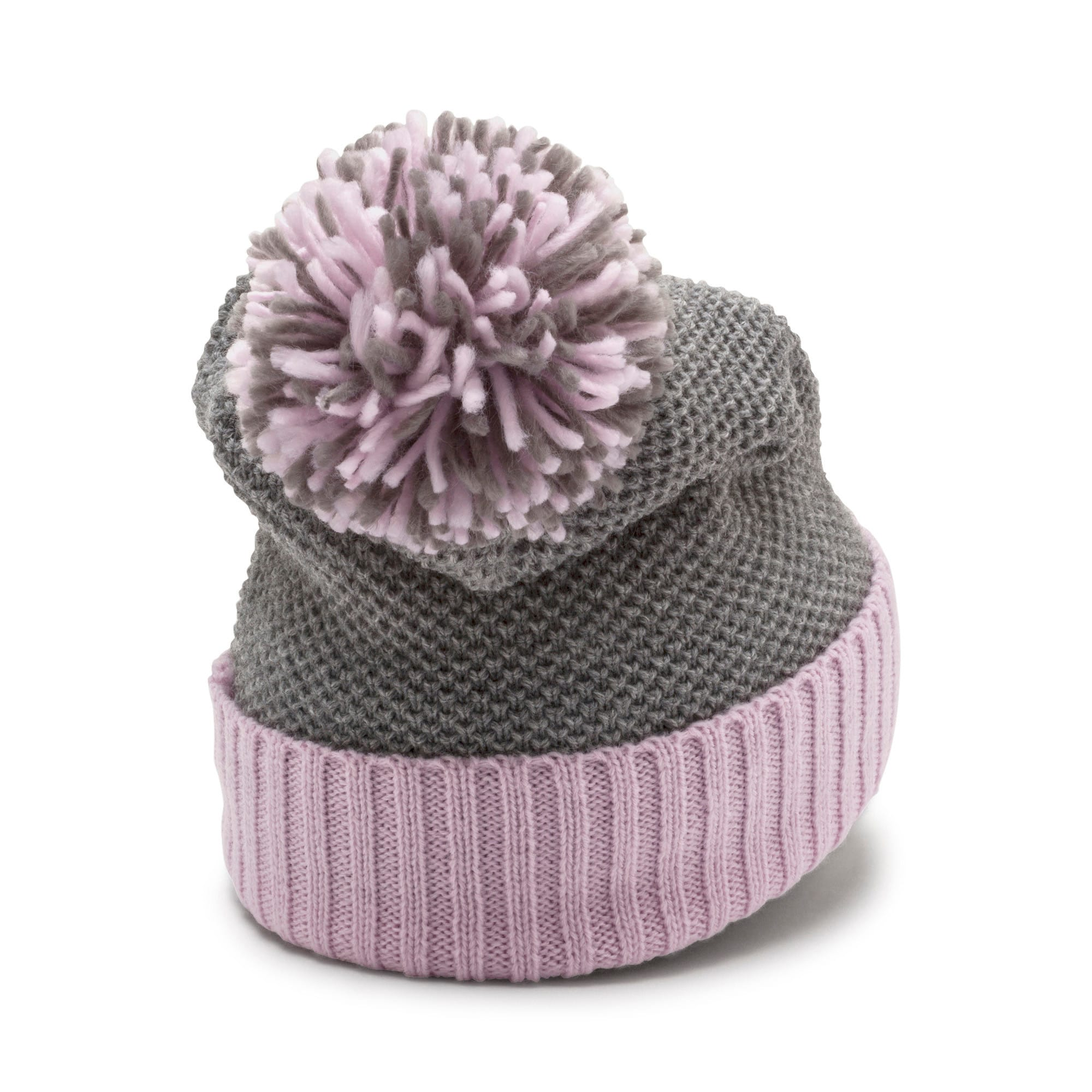 Thumbnail 2 of ARCHIVE Pom beanie, Light Gray Heather-W. orchid, medium-IND