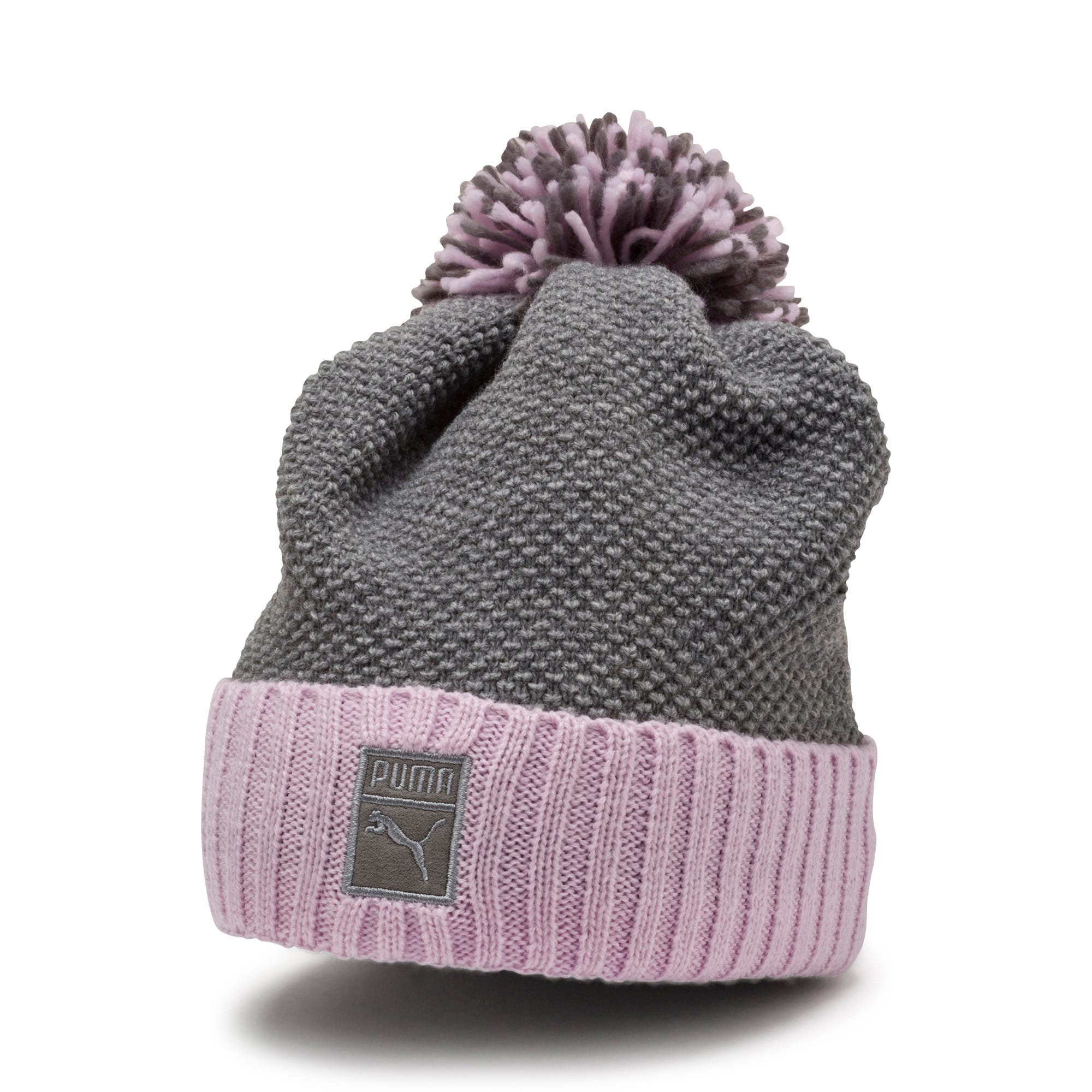 Thumbnail 1 of ARCHIVE Pom beanie, Light Gray Heather-W. orchid, medium-IND