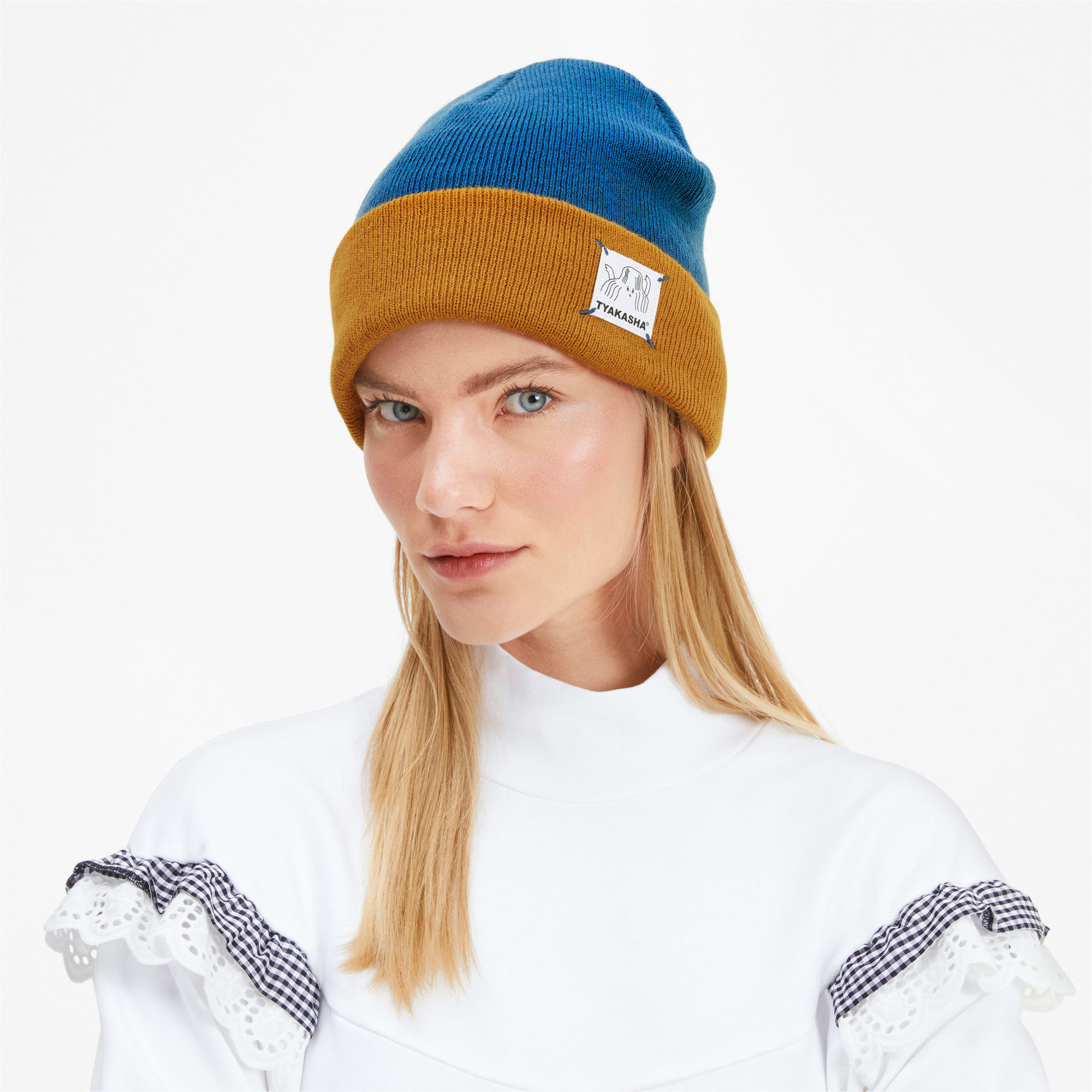 Thumbnail 3 of PUMA x TYAKASHA Beanie, Galaxy Blue-Buckthorn Brown, medium