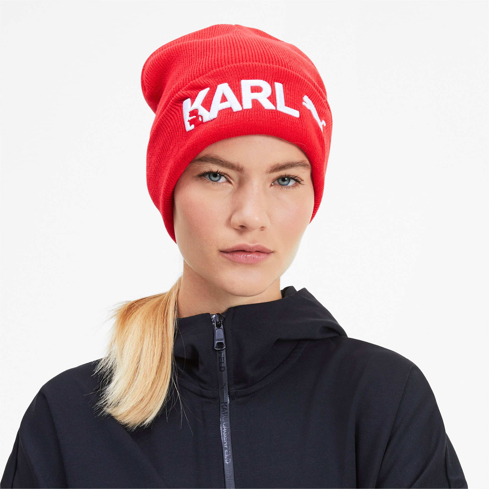Thumbnail 3 of PUMA x KARL LAGERFELD Beanie, High Risk Red, medium