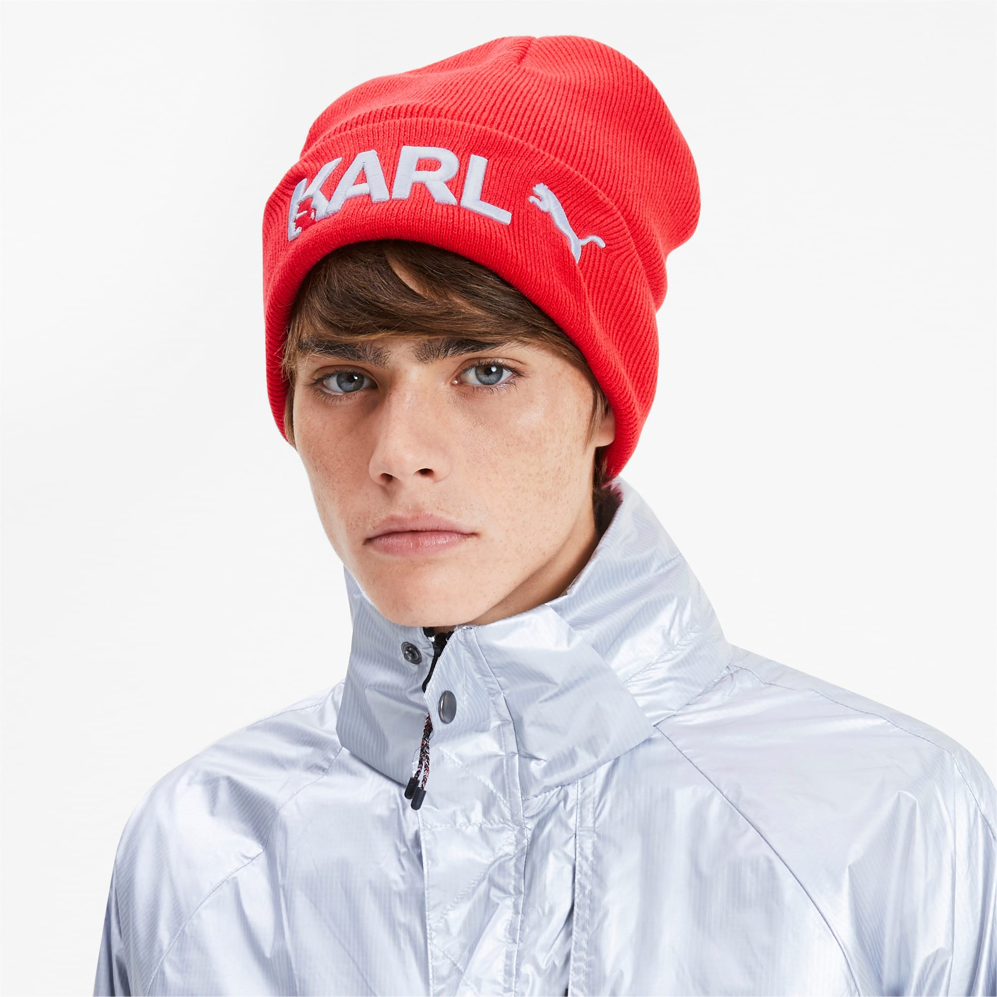 Thumbnail 2 of PUMA x KARL LAGERFELD Beanie, High Risk Red, medium