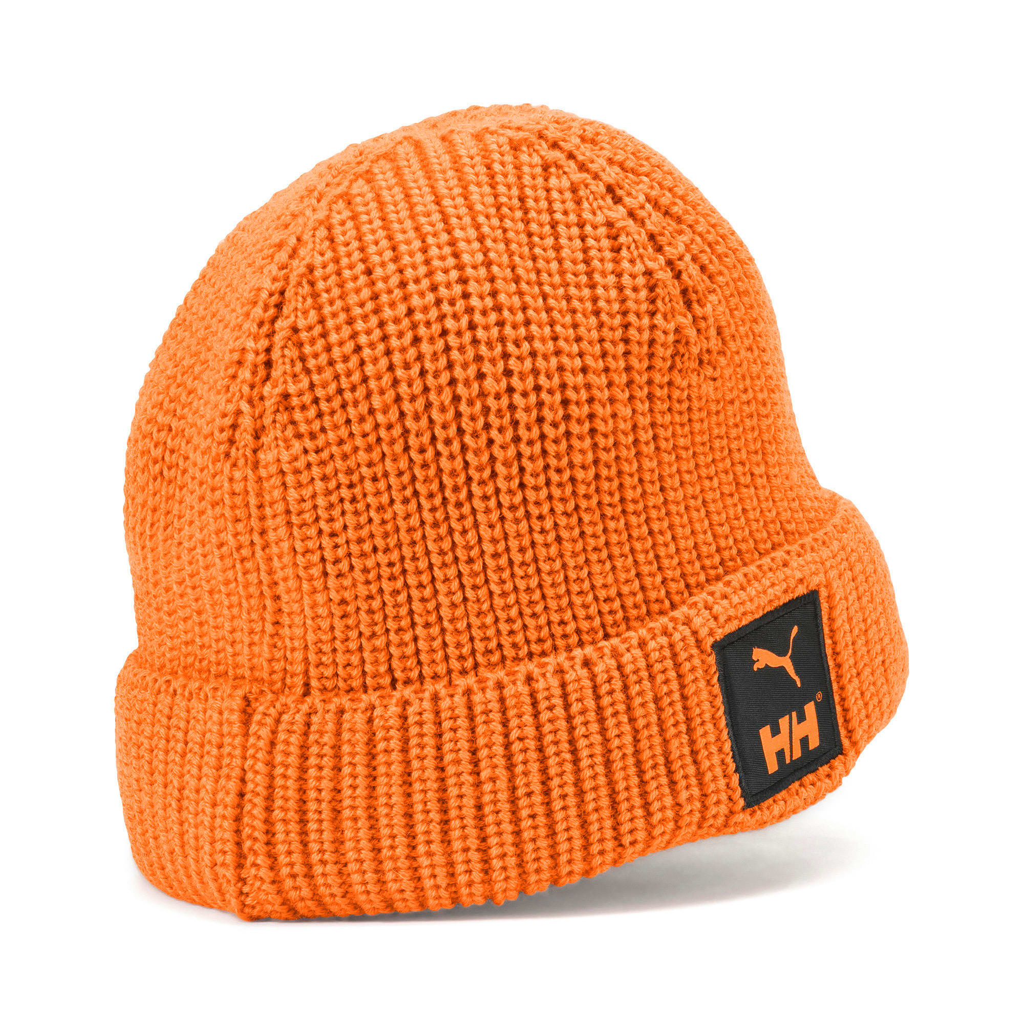 PUMA x HELLY HANSEN Beanie, Puma Black-Orange Popsicle, large