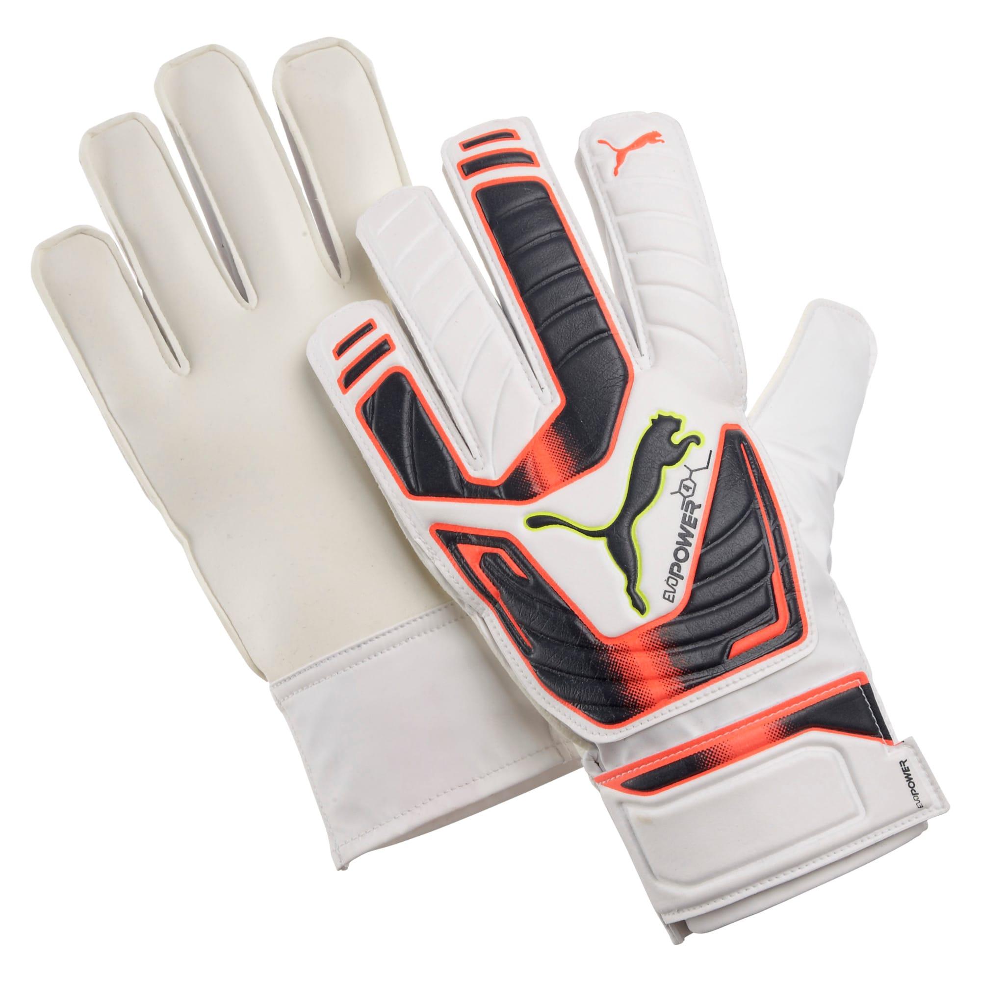 Thumbnail 1 of evoPOWER Grip 4 Goalkeeper Gloves, white-fluro peach-ombre blue, medium