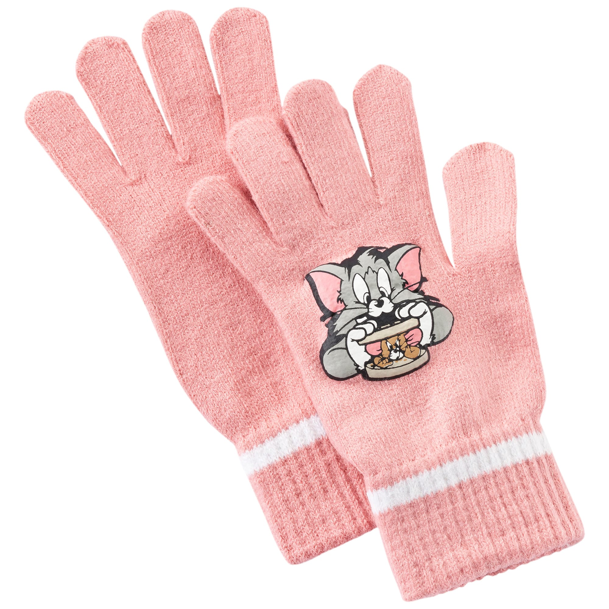 Thumbnail 1 of Tom and Jerry Kids Knit Gloves, geranium pink-white, medium-IND