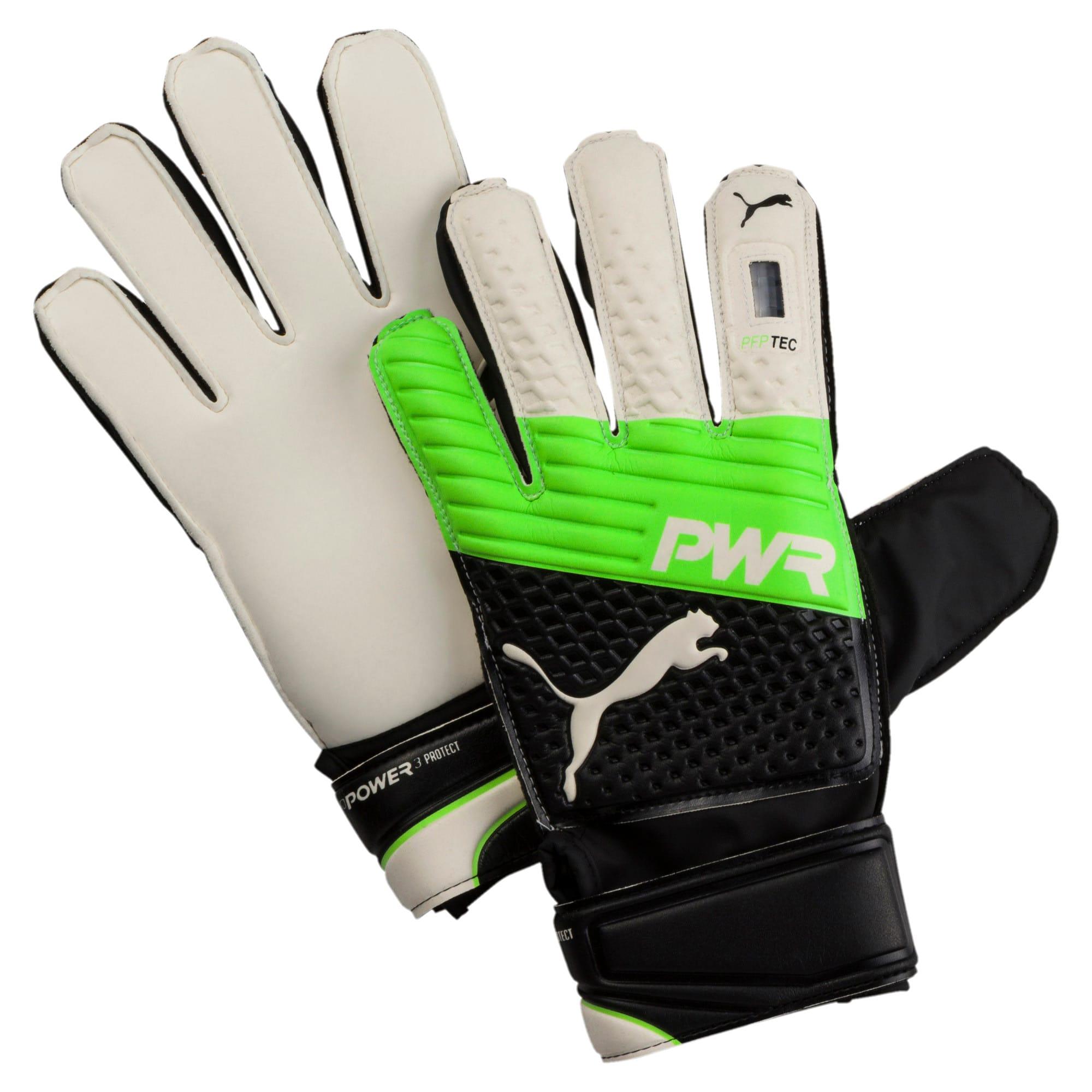 Thumbnail 1 of evoPOWER Protect 3.3 Football Goalie's Gloves, Green Gecko-Black-White, medium-IND