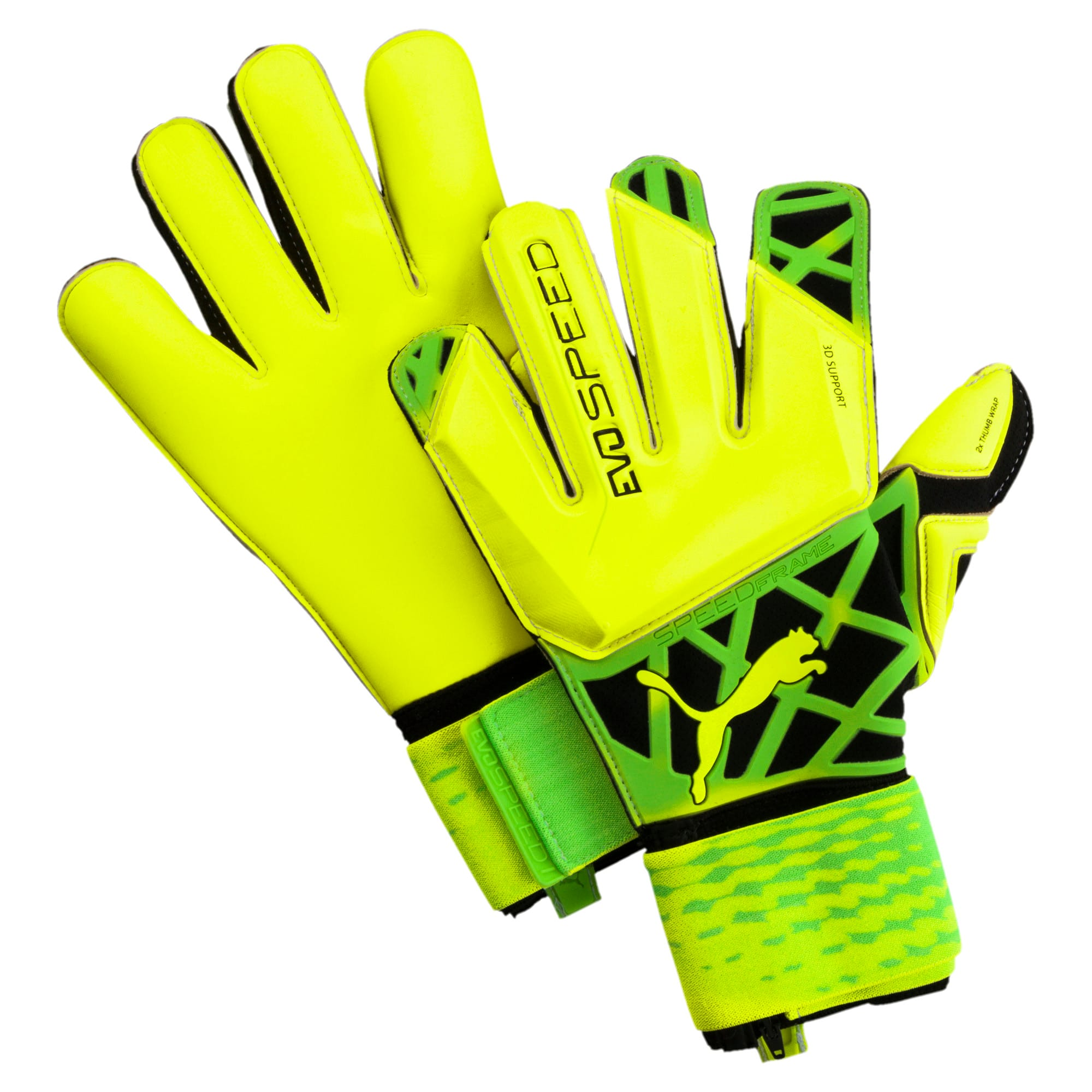 Thumbnail 1 of evoSPEED 1.5 Football Goalie's Gloves, Safety Yellow-Green-Black, medium-IND
