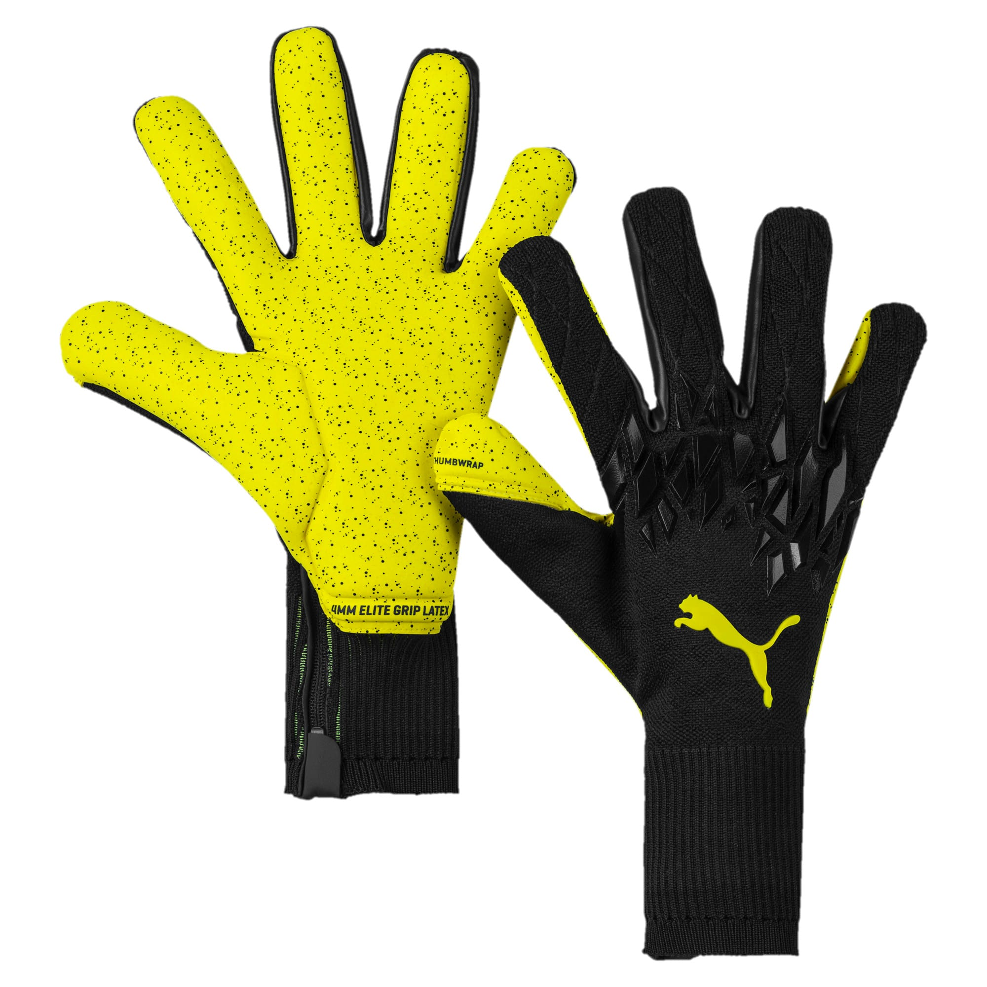 Thumbnail 1 of FUTURE Grip 19.1 Football Goalkeeper Gloves, Puma Black-Yellow Alert, medium