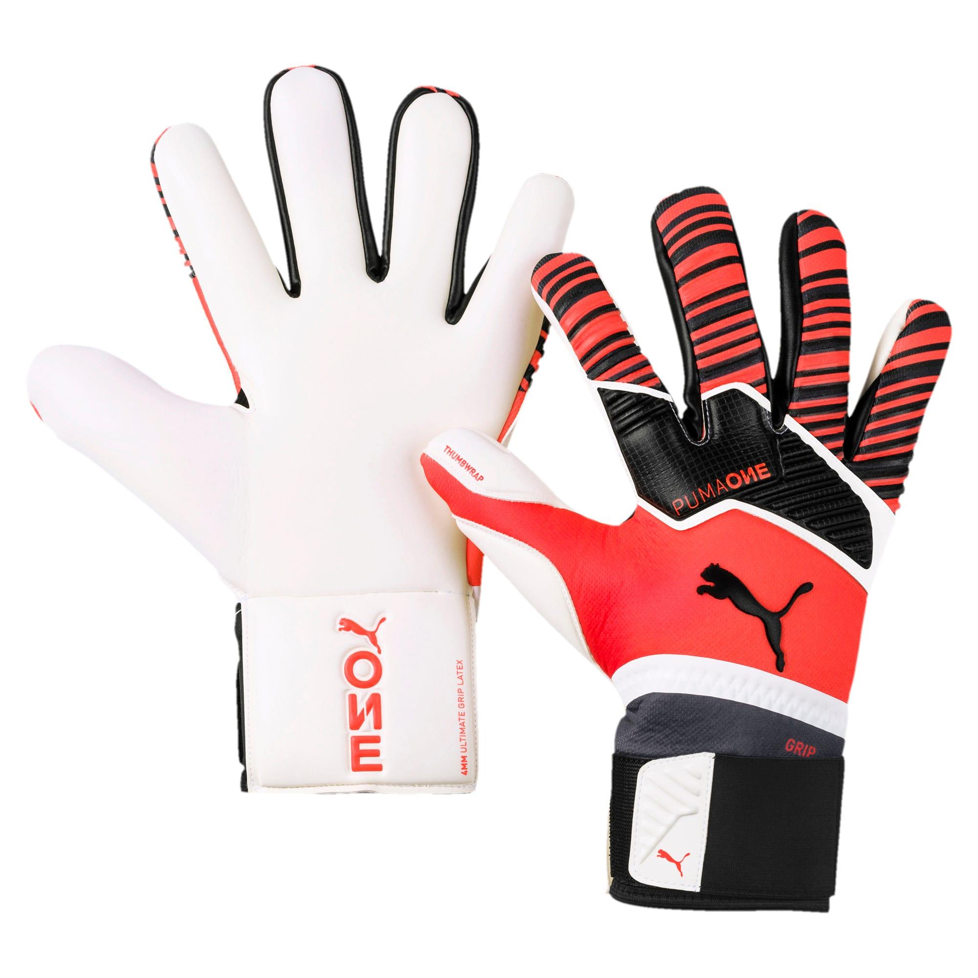 Thumbnail 1 of Gants de goal de foot PUMA ONE Grip 1 Hybrid Pro, Nrgy Red-Black-White, medium