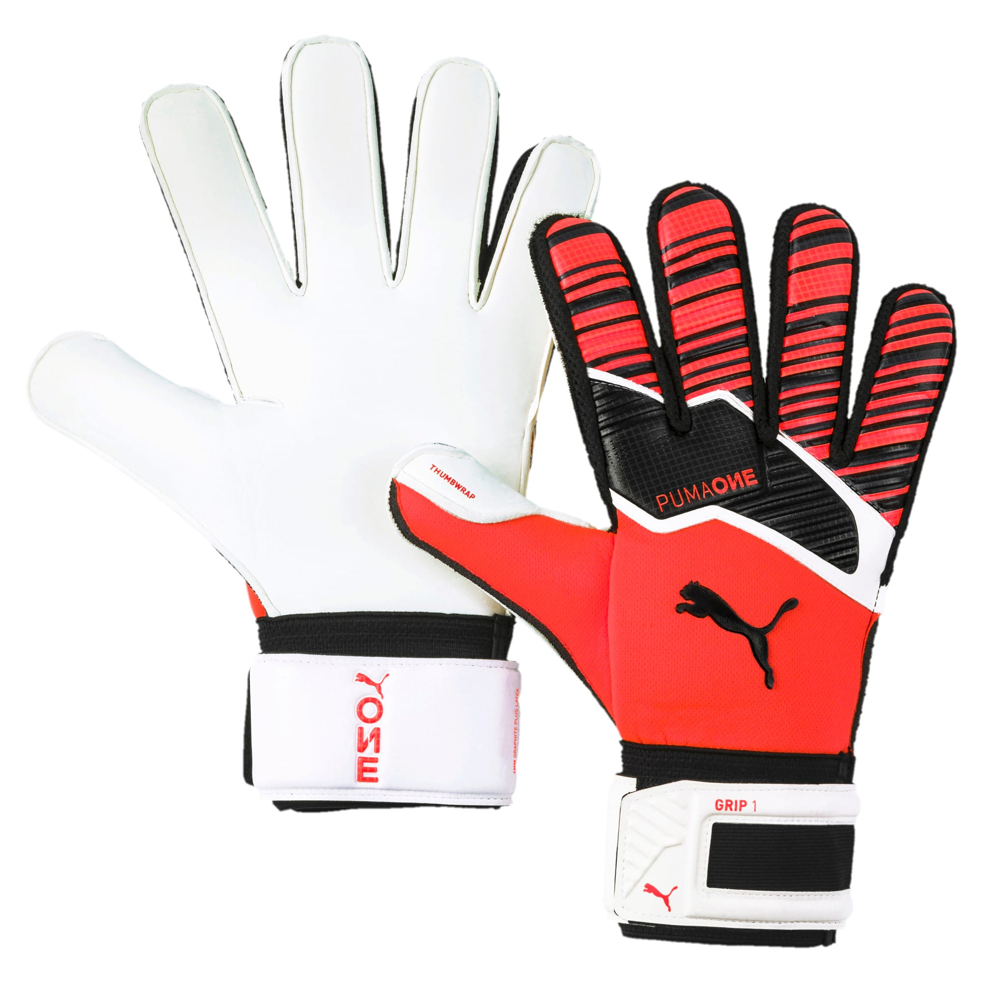 Thumbnail 1 of PUMA One Grip 1 RC Football Goalkeeper Gloves, Nrgy Red-Black-Puma White, medium