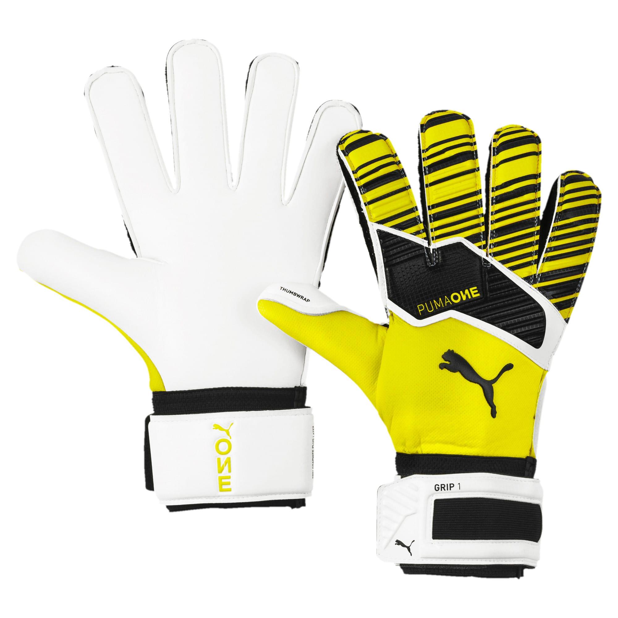 Thumbnail 1 of PUMA ONE Grip 1 Goalkeeper Gloves, Yellow Alert-Black-White, medium