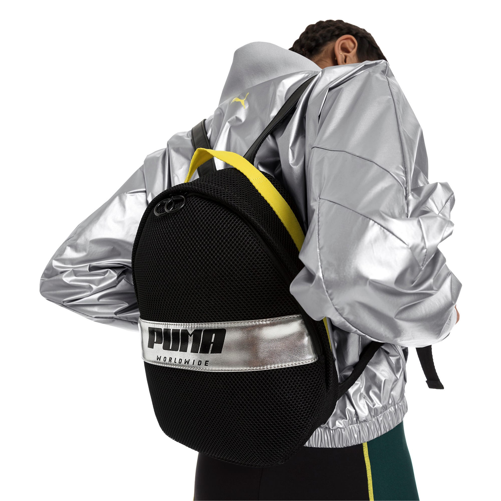 Thumbnail 2 of Women's Street Backpack, Puma Black-Blazing Yellow, medium
