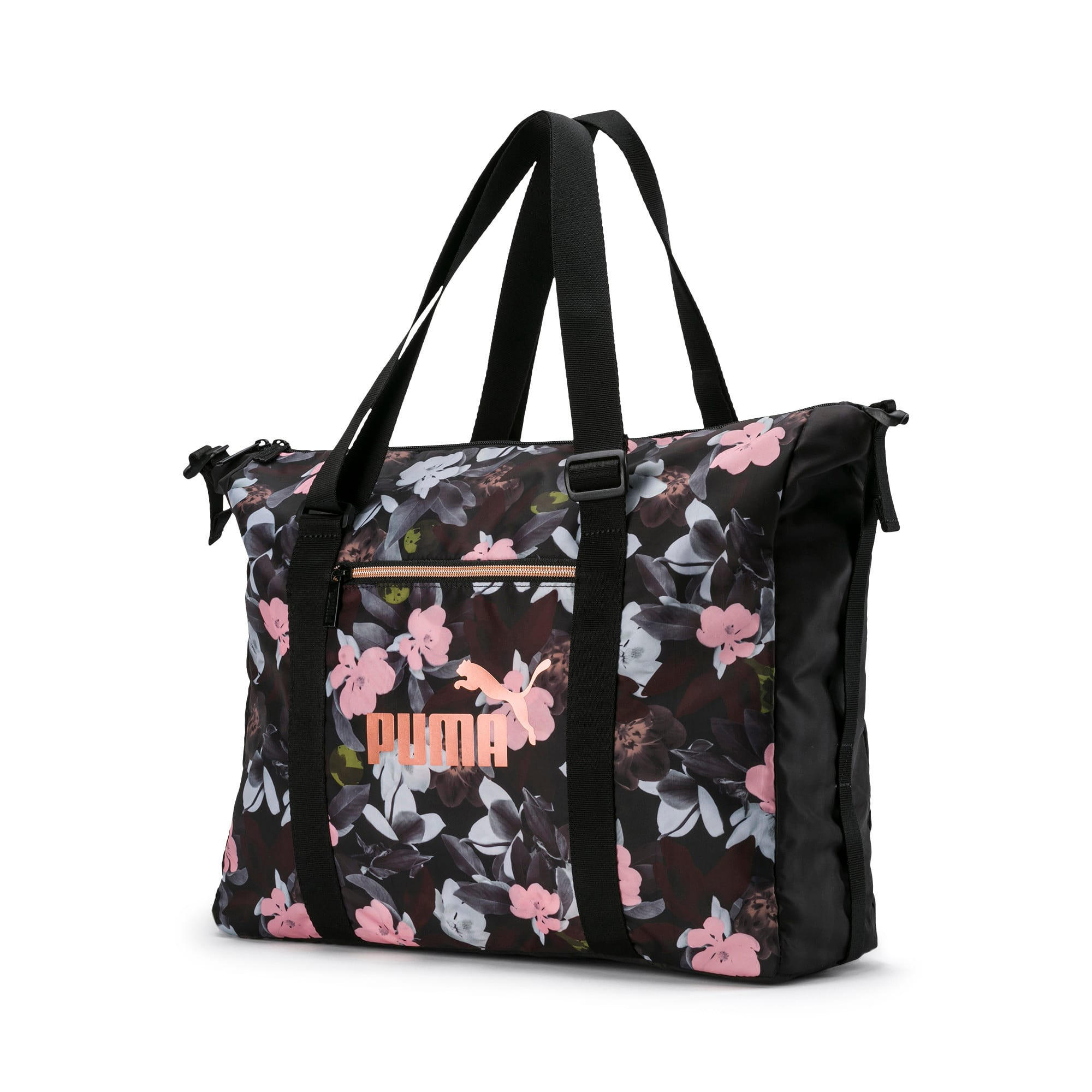 Thumbnail 1 of Women's Seasonal Duffel Bag, Puma Black-Floral AOP, medium-IND