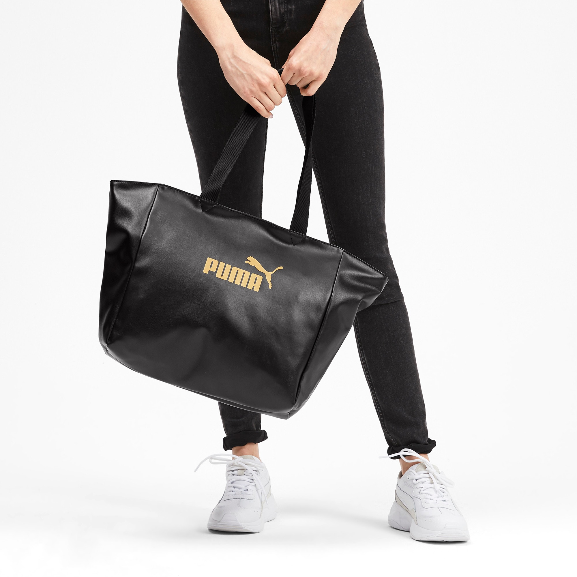 Thumbnail 2 of Large Women's Shopper, Puma Black-Gold, medium-IND