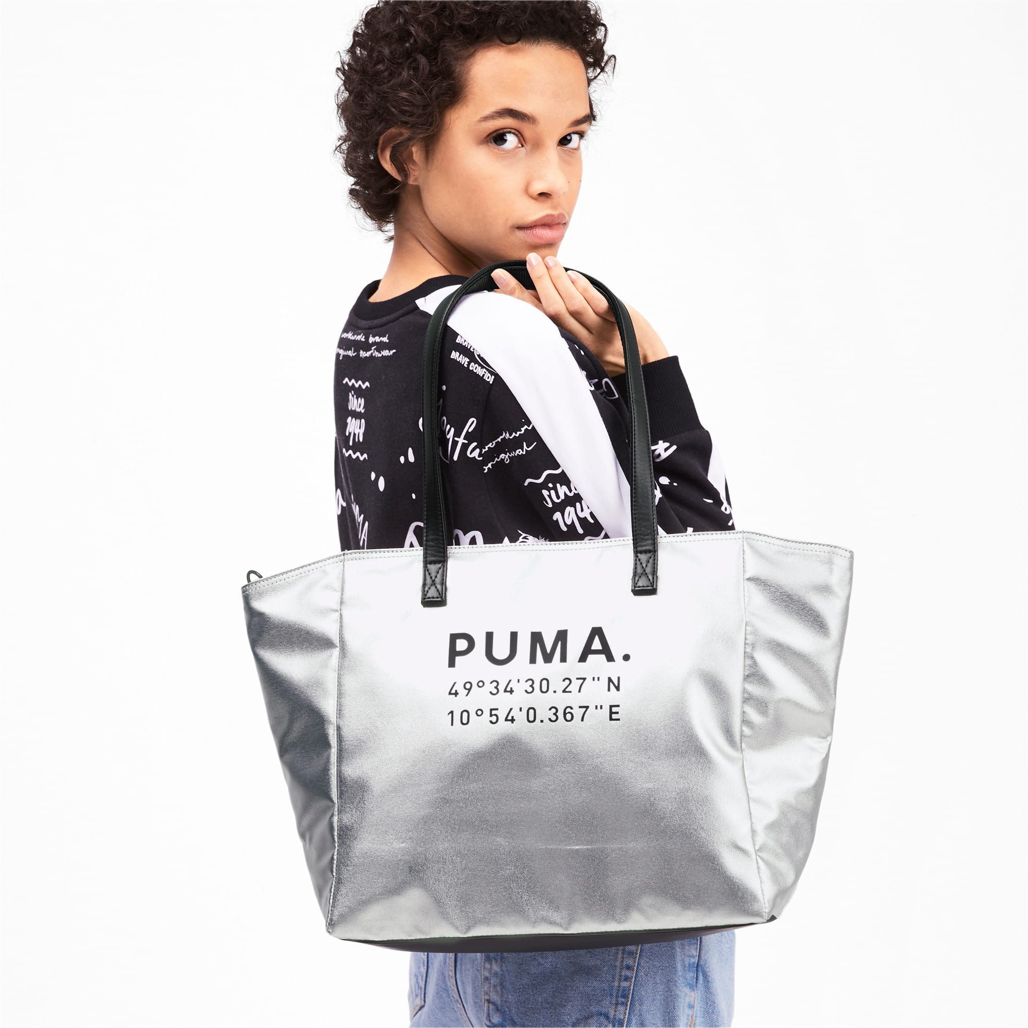 Thumbnail 2 of Time Women's Large Shopper, Silver-Puma Black, medium-IND