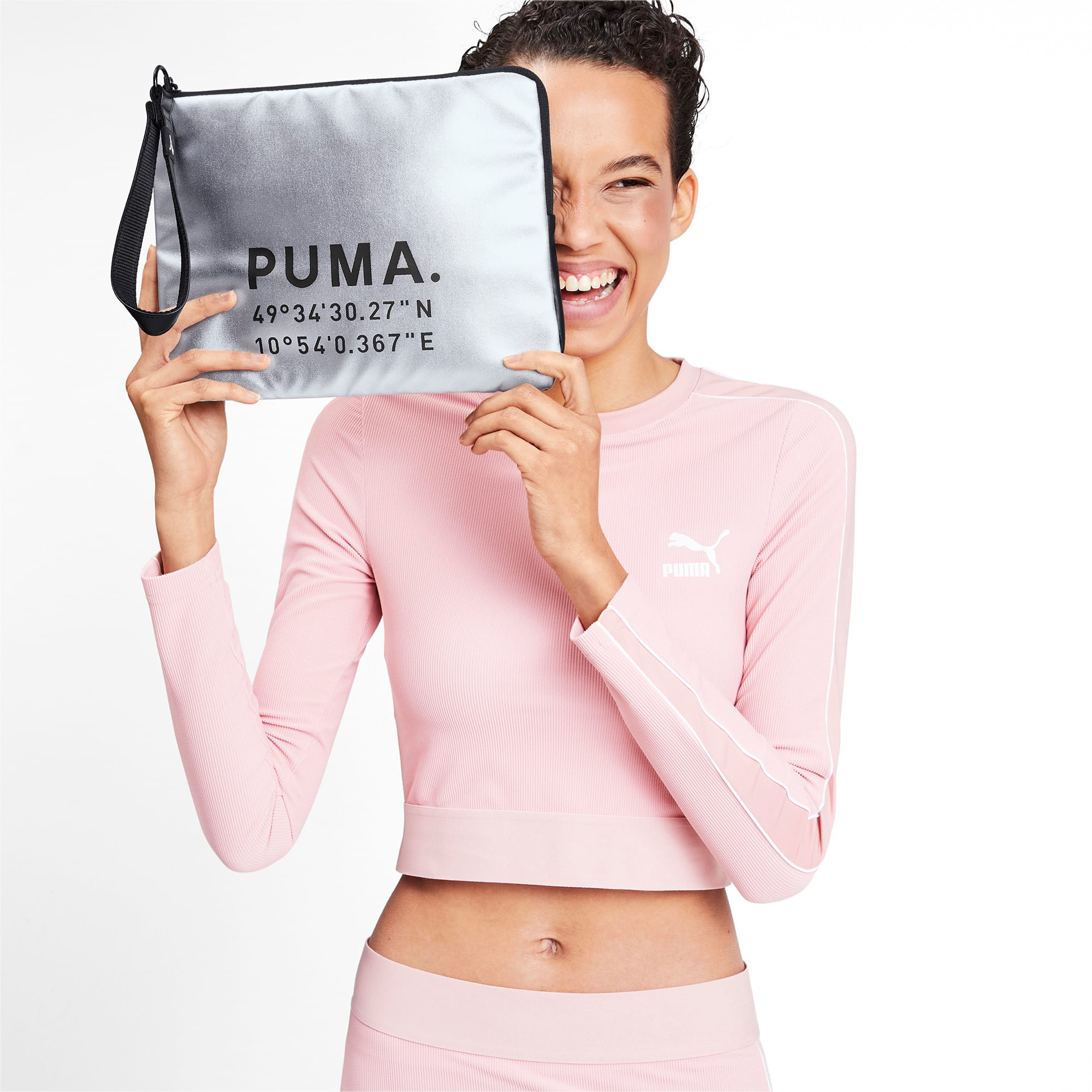 Thumbnail 2 of Time Women's Pouch, Silver-Puma Black, medium-IND