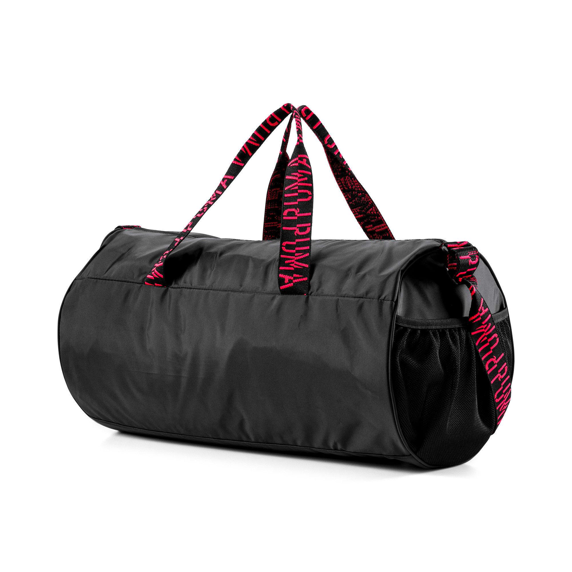 Thumbnail 3 of AT ESS Women's Training Duffel Bag, Puma Black-Pink Alert-AOP, medium-IND