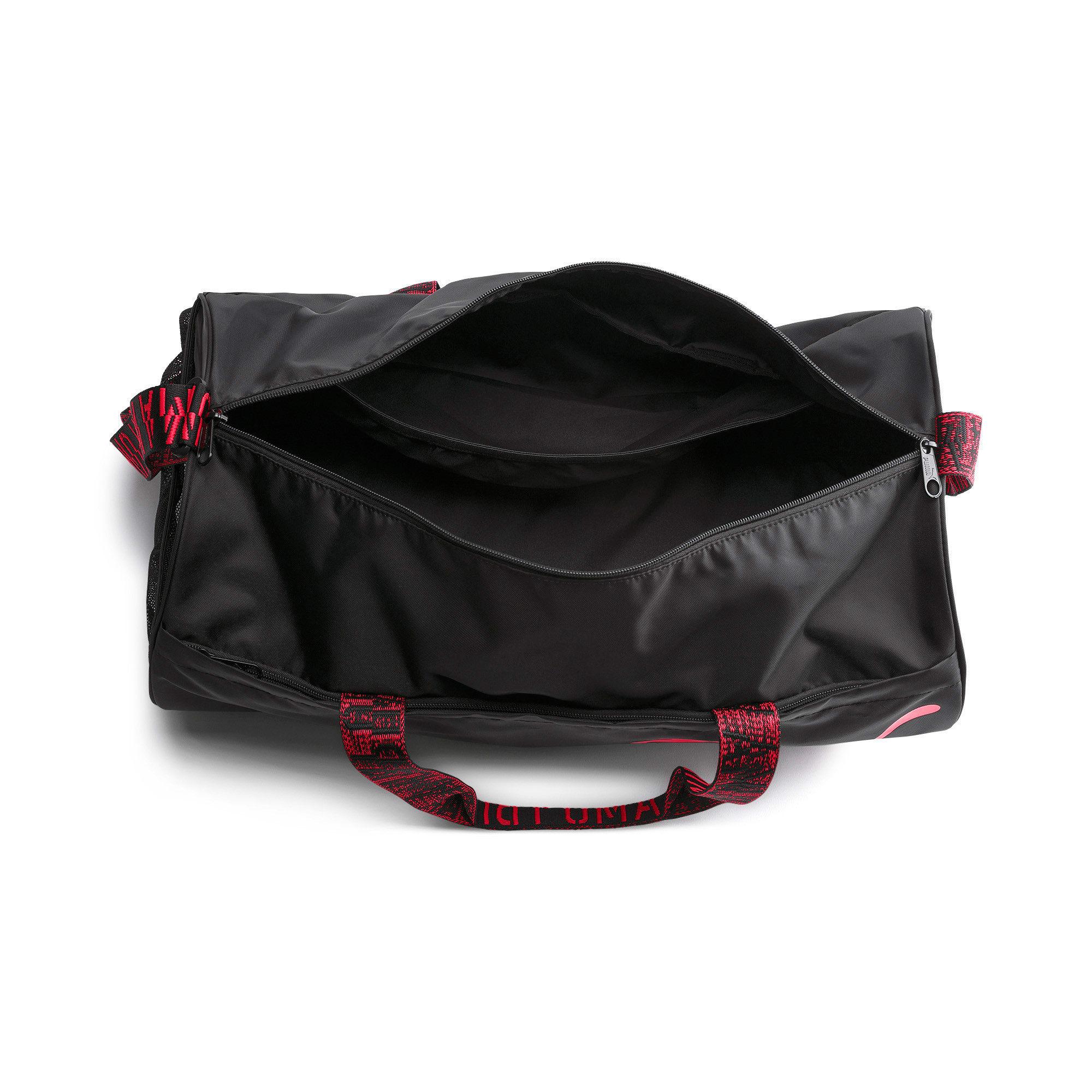 Thumbnail 4 of AT ESS Women's Training Duffel Bag, Puma Black-Pink Alert-AOP, medium